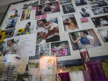 A memorial to Génesis Urrutia inside the UV Communications School.