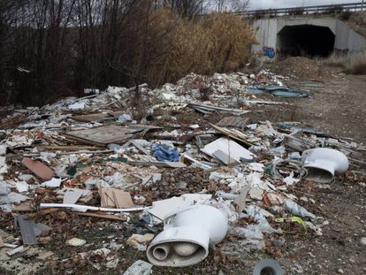 An illegal dump on the outskirts of Madrid.