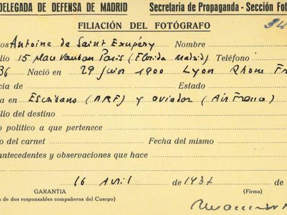Press card used by French writer and aviator Antoine de Saint-Exupéry during the Spanish Civil War.