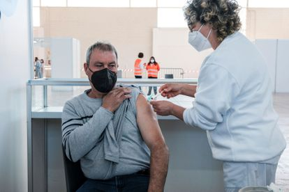 A man receives the Covid-19 vaccine in Ibiza in Spain's Balearic Islands.