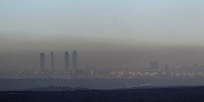 The pollution hanging over the Madrid skyline.
