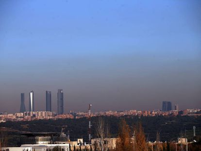 The Madrid skyline, visible through the smog.
