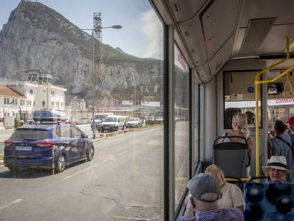 The bus that goes from the Spanish border to the center of Gibraltar.