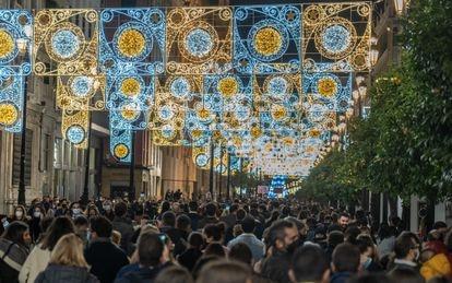 Christmas lights in Seville.