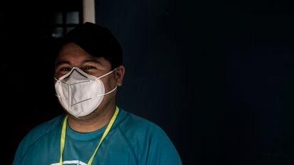 Estuardo Cifuentes at the Rainbow Bridge shelter in Matamoros.