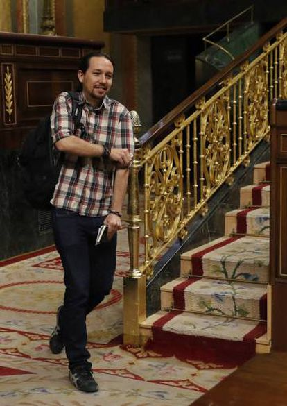Podemos leader Pablo Iglesias in Congress, where his group successfully introduced a motion on energy poverty.