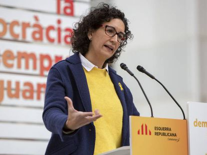 ERC candidate Marta Rovira during a party meeting in Badalona, Catalonia.