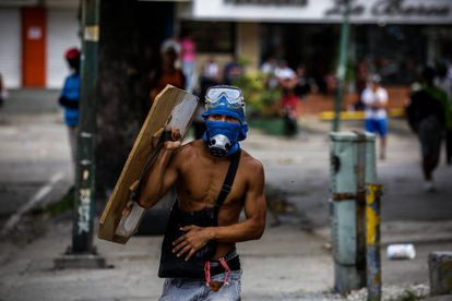 A young protester in Caracas on Sunday.