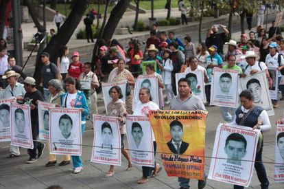 A protest against the disappearance of 43 students in Iguala.