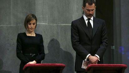 Queen Letizia and King Felipe at the funeral mass in Barcelona's Sagrada Familia.