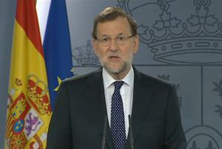 Mariano Rajoy speaks from La Moncloa prime ministerial residence on Tuesday.