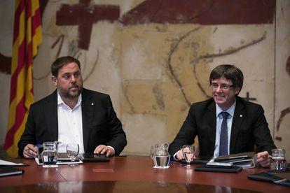 Catalan deputy premier Oriol Junqueras and premier Carles Puigdemont.