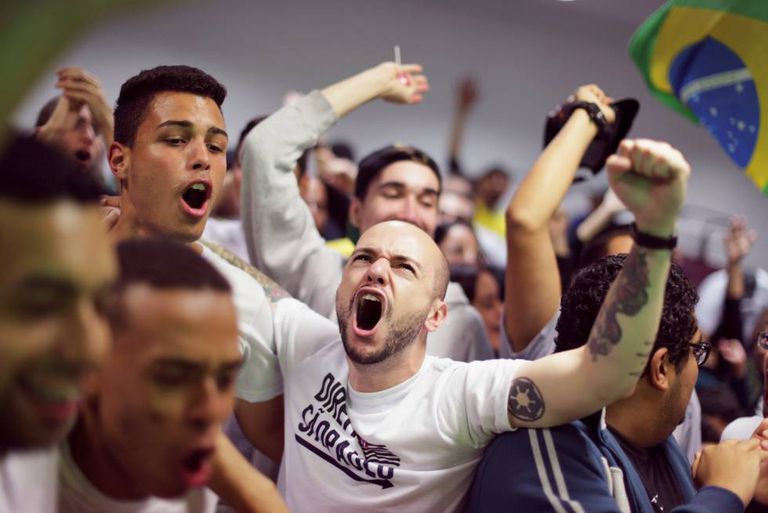 Bolsonaro supporters celebrating his first-round victory on Sunday.