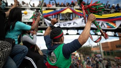 Indigenous protesters set out for Bogotá in October 2020 to seek a meeting with President Iván Duque.