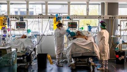 The La Paz hospital in Madrid during the coronavirus crisis.