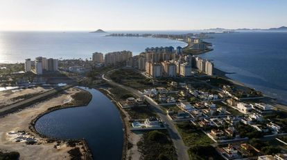 Untrammeled development on La Manga del Mar Menor, with the Mediterranean Sea to the left.