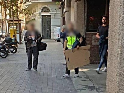 Ex-Valladolid player Borja Fernández (r) during his arrest.