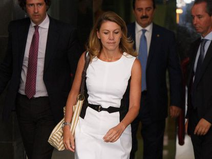 PP (Popular Party) secretary general María Dolores de Cospedal leaves the Spanish High Court on August 14, 2013 in Madrid, Spain.
