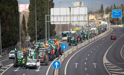 Tractors approaching Granada during a recent protest by farmers.