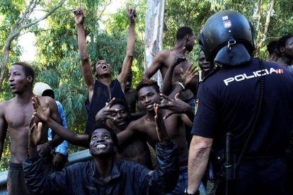 Migrants in Ceuta.