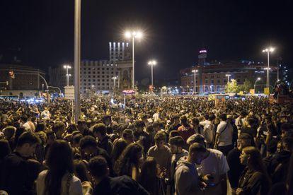 Street party in Plaza de Espanya square on Friday night.