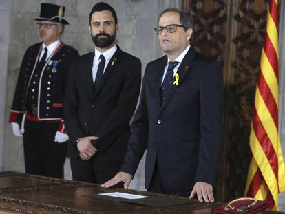 Quim Torra is sworn in as the premier of Catalonia.