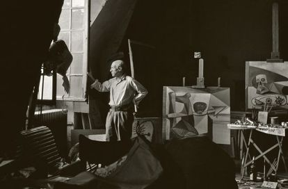 Pablo Picasso pictured in 1948 in his Paris studio, the future of which is now under threat.