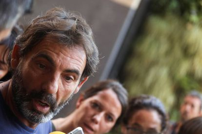 Òscar Camps, founder of Proactiva Open Arms NGO, talks to reporters in Madrid.