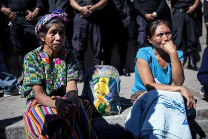 Women in Guatemala hold a protest over poverty last month.