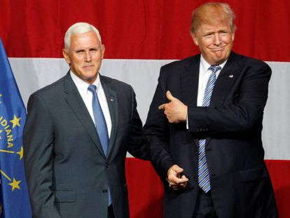 Donald Trump and Indiana Governor Mike Pence address the crowd on June 12.