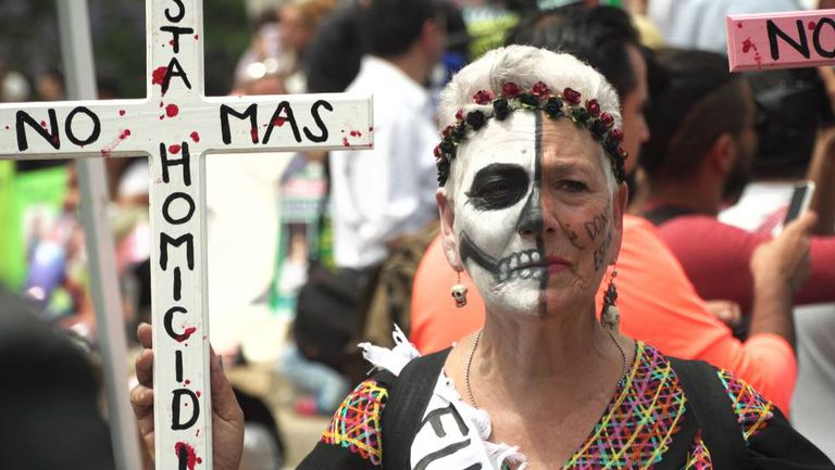 Women protest in Mexico City on Mother's Day.