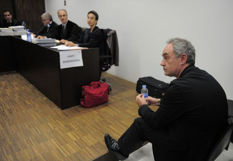 Chef Ferran Adrià in the Barcelona courtroom, where he has been accused of swindling investor Miquel Horta over his share in elBulli.