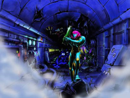 Artwork for 'Metroid Fusion,' one of the best-known installments of the series.