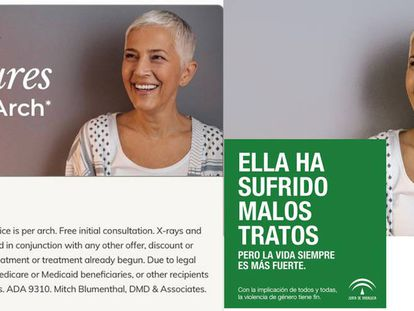 Photo of woman in dental clinic ad (l) also used to represent a victim of abuse (r).