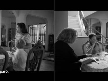 Frames from the two different subtitle versions of 'Roma.'