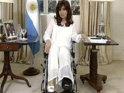 President Cristina Fernández de Kirchner during Monday night's broadcast.