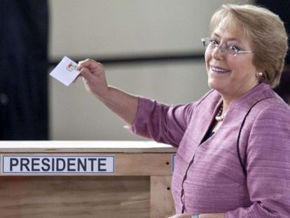 Michelle Bachelet votes in Santiago during Sunday's race.