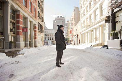Ferran Adrià, in a snowy New York street