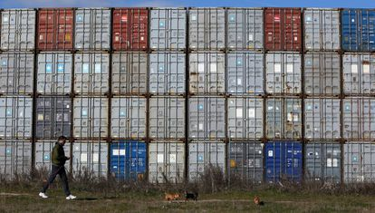 Containers at the Madrid Dry Port in Coslada.