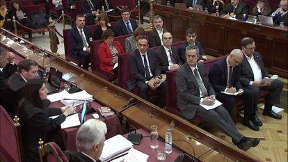 Catalan separatist leaders at their trial hearing.