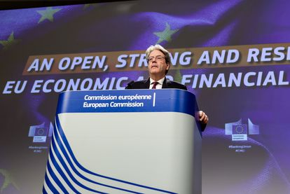 The EU's Economy Commissioner Paolo Gentiloni in Brussels.