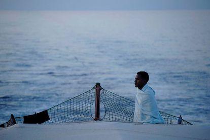 A migrant on board the 'Open Arms' rescue ship.