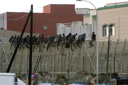 Between 30 and 40 migrants were trapped in between the perimeters at Melilla on Tuesday.