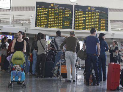 Passengers at Spain's Bilbao airport.