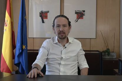 Unidas Podemos leader Pablo Iglesias announcing that he is quitting his position in the central government to run in the Madrid election.