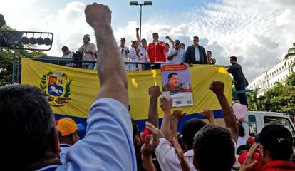 President Nicolás Maduro during a political rally in front of Miraflores presidential palace in Caracas.