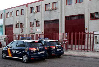 OGC's warehouse in Villaverde, Madrid, under police guard.