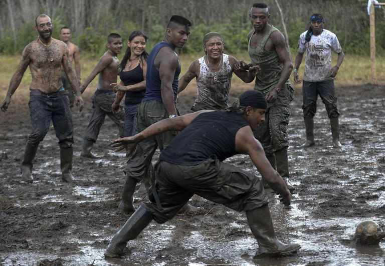 FARC guerrillas playing soccer on Sunday.