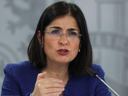 Health Minister Carolina Darias at a recent press conference.