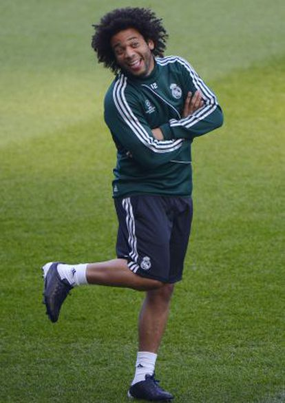 Real Madrid's Brazilian defender Marcelo gestures during a training session at the Etihad stadium in Manchester on March 4.